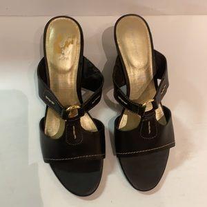 ROCKPORT Black Leather Wedge Slides Heels
